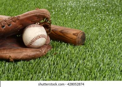 closeup baseball in glove