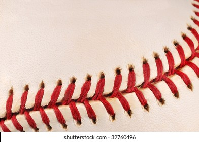 Close-up baseball stitching suitable for background