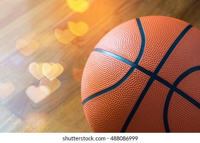 Closeup of Basketball on the Court Floor ,love concept