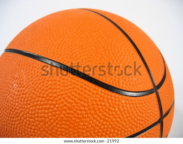 A close-up of a basketball on white background.