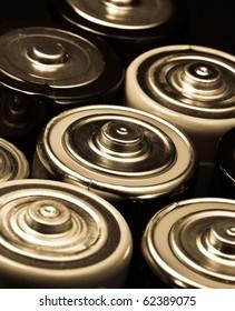 Closeup of batteries