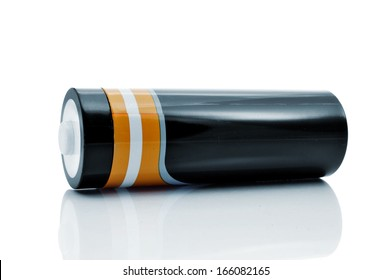 closeup of a battery on a white background