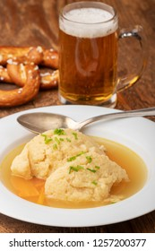 closeup of a bavarian semolina dumpling soup