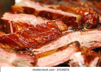 Closeup of BBQ ribs