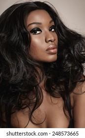 Closeup of a beautiful African woman with makeup.