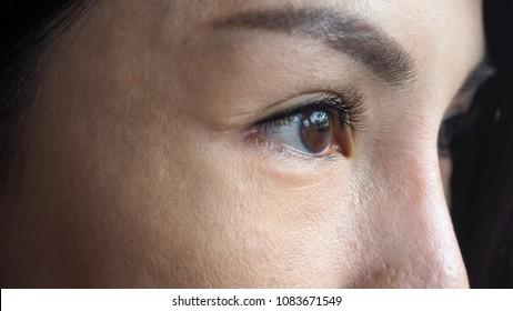 Closeup of beautiful Asian woman's eyes.
