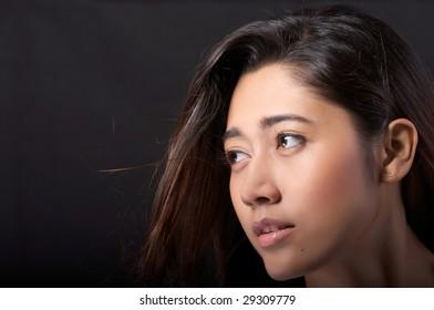 Close-up of beautiful asian woman face