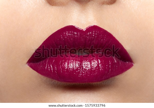 Closeup Beautiful Attractive Female Lips Burgundy Stock Photo Edit Now 1575933796