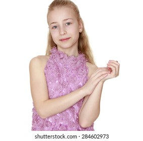 Closeup of a beautiful blond teenage girl- isolated on white background
