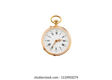 Closeup of a beautiful classic gold pocket watch isolated on white background.