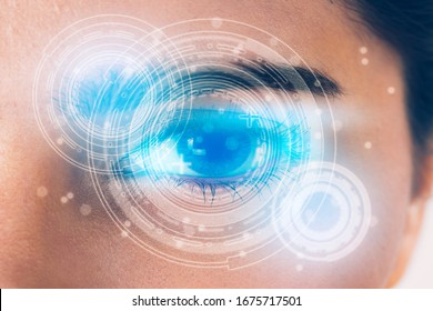 Closeup of beautiful eye woman process scanning with technology, visual hologram, digital display information, medical and security computer with identity, system and verification concept.