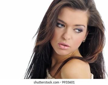 Close-up of beautiful face of woman .Artistic makeup