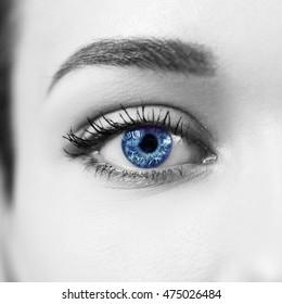 Close-up beautiful female blue