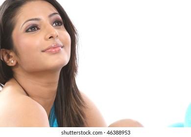 Closeup of beautiful girl face expression