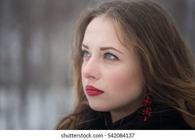 Closeup of a beautiful girl in winter