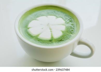 Closeup of a beautiful green tea