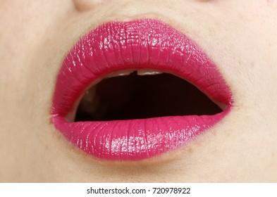 closeup of beautiful lips of a young girl
