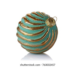Close-up of beautiful luxury vintage golden christmas ball isolated on white background