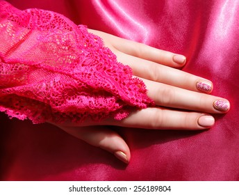 Closeup of beautiful painted nails