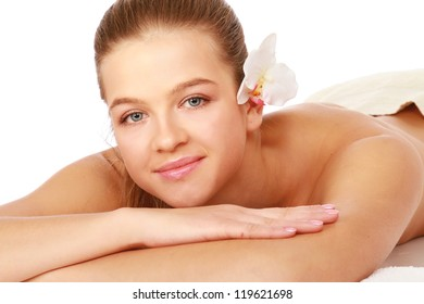 Close-up of beautiful spa woman isolated
