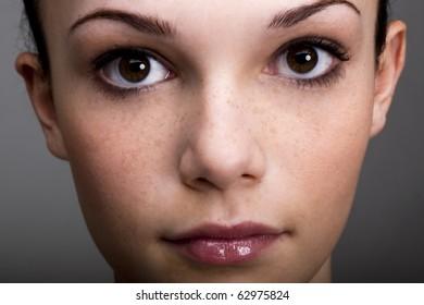 Close-up of a beautiful teenage girl
