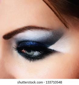 close-up of beautiful woman eye