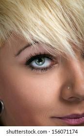 Close-up of beautiful woman eye with stylish makeup