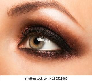 Closeup of beautiful womanish eye with makeup