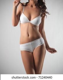 Closeup of a beautiful woman's body in lingerie