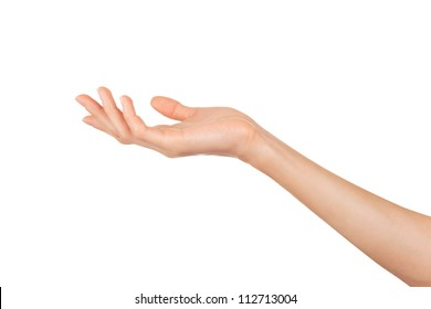 Close-up of beautiful woman's hand isolated on white background. Palm up