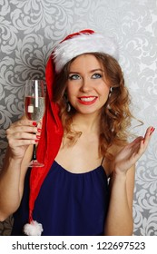 Close-up beautiful young woman at a Christmas party