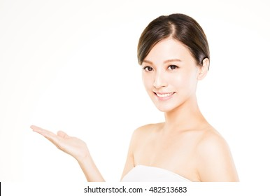 closeup beautiful young   woman  with showing gesture