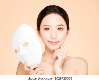 closeup beauty face with facial mask concept