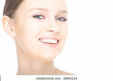 close-up beauty girl portrait on white background
