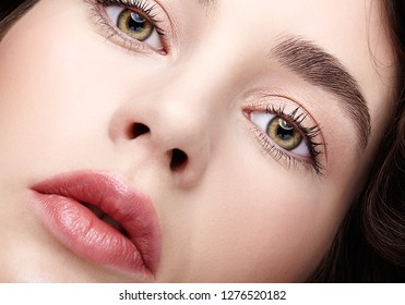 Closeup beauty macro face portrait of young woman. Brunette girl with day nude female makeup.