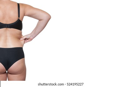 Close-up Beauty Portrait Back Woman in Underwear, Isolated on White Background.  Body Women After Childbirth, Markings on the Body Liposuction, Excess Fat Woman.