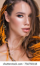 closeup beauty portrait of a colorful hairstyle