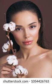 Closeup beauty portrait with cotton