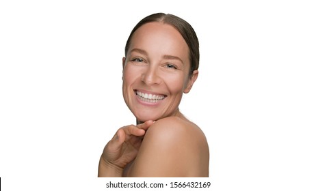 Close-up beauty portrait of young smiling woman with smooth healthy skin on white background