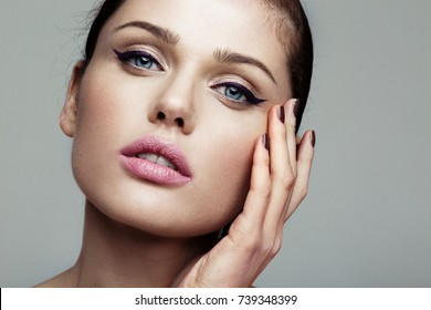 close-up beauty shot of young pretty model with bright make-up. Eyeliner.  - Shutterstock ID 739348399