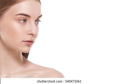 closeup beauty skin female face over horizontal white background