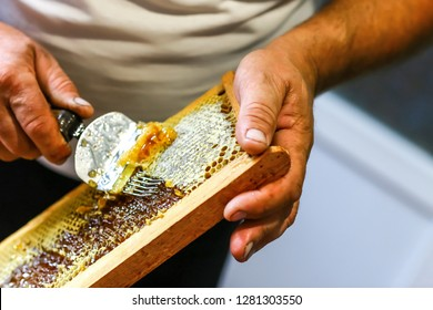 close-up Beekeeper uncapping honeycomb with special beekeeping fork. Raw honey being harvested from bee hives. Beekeeping concept.