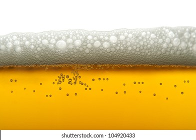 closeup of beer bubbles on white background