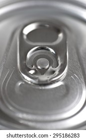 Closeup of a beer can.