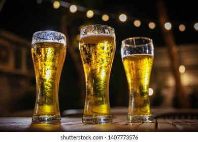 closeup of beer mugs on the table