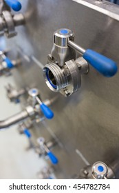 Close-up of beer pump at bewery