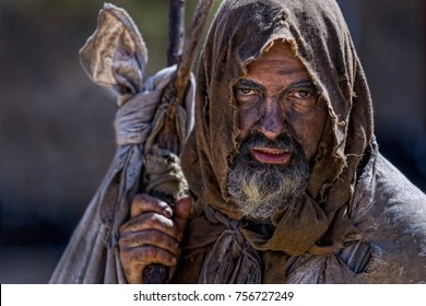 Close-up of a beggar