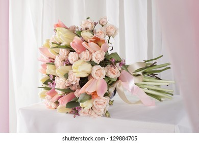 close-up of beige bouquet of spring flowers