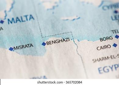 Closeup of Benghazi, Libya on a political map of Africa.