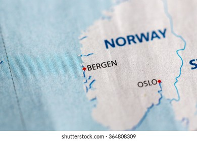 Closeup of Bergen, Norway on a political map of Europe.